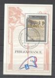 Nicaragua 1989 Paintings, Militaria, Philex France, perf. sheet, used AJ.039