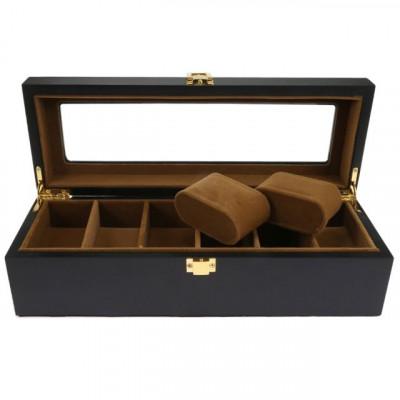 Cutie caseta din lemn pentru depozitare si organizare 6 ceasuri, model Pufo... foto