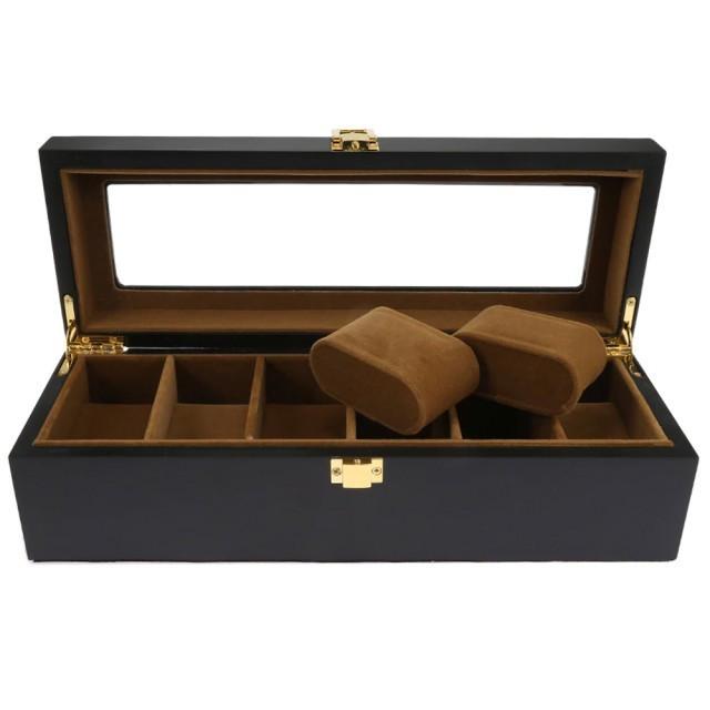 Cutie caseta din lemn pentru depozitare si organizare 6 ceasuri, model Pufo...