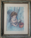 Copil cu floare// creioane colorate pe hartie, nesemnat