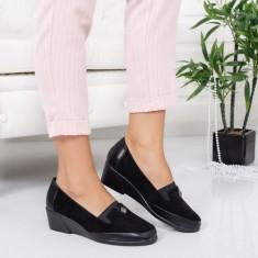Pantofi Inceri negri cu talpa ortopedica