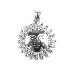 Pandantiv Soare cu Pietre, Argint 925, 2.5 x 1.7 cm + Snur Martisor