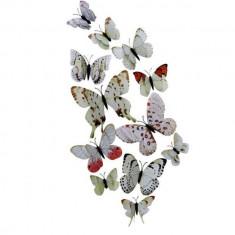 Fluturi 3D magnet, dubli, decoratiuni casa sau evenimente, 12 bucati, alb, A21