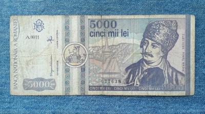 5000 Lei 1992 Romania / seria 077638 foto