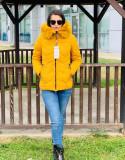 Jachetă groasă cu glugă imblănită și vatelină, yellow, S,M,L,XL,XXL