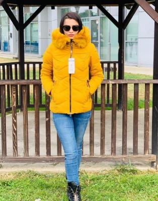 Jachetă groasă cu glugă imblănită și vatelină, yellow, S,M,L,XL,XXL foto