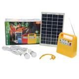 Sistem solar Sunny KIT, 12V  7.5Ah, 10W, 2 becuri LED x 3W, radio FM, 2 x USB