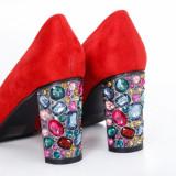 Pantofi Zandra rosii cu toc