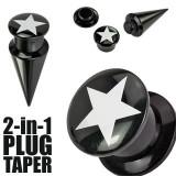 Plug şi taper negre cu stea - 2 în 1 - Lățime: 14 mm