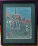 Val Gheorghiu - Tablou Peisaj Citadin pictura pastel 26x32cm, Peisaje, Realism
