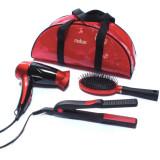 Uscator de par Medicura ARM 350, 1200 W + placa de par, invelis ceramic + perie par + borseta, rosu + negru, ARDES