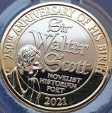 2 pounds 2021 Marea Britanie, Sir Walter Scott, Brilliant uncirculated, Coincard, Europa