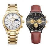 Cumpara ieftin Set ceas barbatesc + ceas dama Megir, rezistent la apa 3Bar, mecanism Quartz, calendar complet, afisaj analogic, stil Fashion + cutie cadou