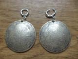 Cercei baze cromate cu pandantiv zamac argintat - oriental