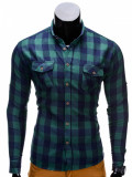 Camasa pentru barbati, verde, slim fit, casual, elastica, flanel cu guler - k312, XXL, Maneca lunga