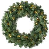 Decoratiune coronita artificiala de Craciun, din brad artificial verde, diametru 30 cm, cu 20 led-uri culoare calda, Home