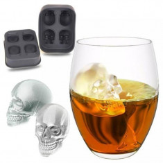 Forma pentru cuburi de gheata craniu, silicon, negru, Gonga