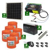 Pachet gard electric cu Panou solar 3,1J putere și 3000m Fir 90Kg cu acumulator