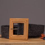 Curea lata elastica neagra cu catarama patrata natur