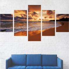 Set Tablouri Multicanvas 5 Piese, Peisaje Valuri - 110 x 200 cm (2 Piese 40x60 cm + 2 Piese 40x80 cm + 1 Piesa 40x110 cm)