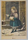 """""""Winter"""" veche litografie colorata manual"""