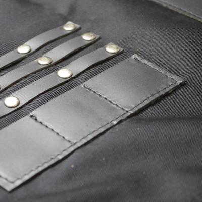Sort din textil negru si piele neagra pentru coafor/frizerie foto