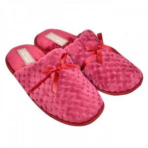 Papuci imblaniti de dama, model cu fundita, marime 40-41, bordeaux