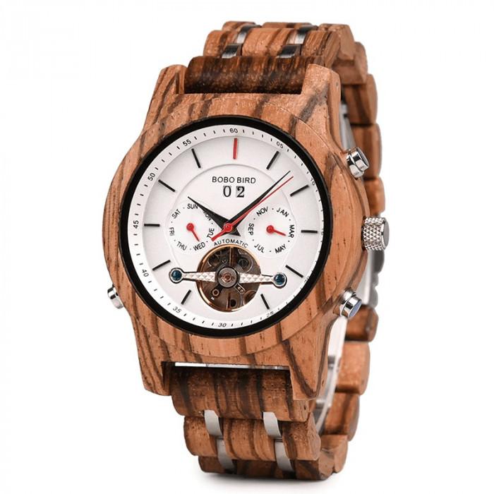 Ceas din lemn Bobo Bird mecanic Q27-2 alb