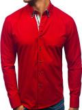 Cumpara ieftin Cămașă cu mâneca lungă pentru bărbat roșie Bolf 3762, Maneca lunga