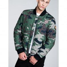 Geaca pentru barbati, stil militar, camuflaj, army, cu fermoar c202-verde