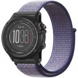 Curea ceas Smartwatch Garmin Fenix 5, 22 mm iUni Soft Nylon Sport, Midnight Blue