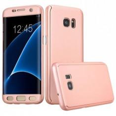 Husa Samsung Galaxy S7 Edge Flippy Full Cover 360 Roz Auriu + Folie de protectie
