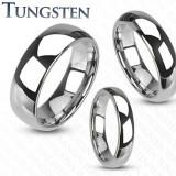 Inel din tungsten - verighetă netedă, lucioasă de culoare argintie, 8 mm - Marime inel: 54