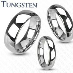 Inel din tungsten - verighetă netedă, lucioasă de culoare argintie, 4 mm - Marime inel: 64