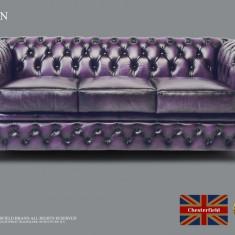 Canapea din piele naturală-3 locuri-Purple Antique-Autentic Chesterfield Brand
