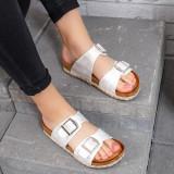 Papuci dama cu talpa groasa albi Verdira