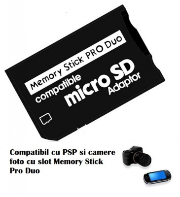 Adaptor card  micro SD / SDHC la Memory Stick MS Pro Duo pt PSP camera foto Sony foto