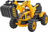 Tractor electric cu excavator frontal, galben