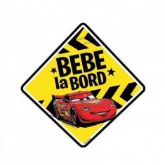 Semn auto Bebe la Bord Cars, usor de montat, 13 x 13 cm