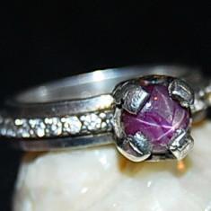 inel deosebit  ! argint 925  ,  cu rubin natural stelat , model inel logodna