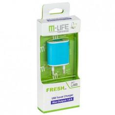 Incarcator retea slot usb 1a albastru m-life