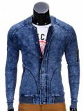 Jacheta pentru barbati de blugi cu fermoar si capse albastru casual slim fit C240