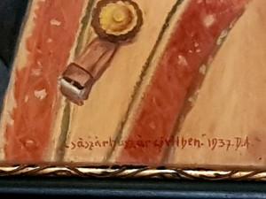 Reducere! Tablou vechi 1937 scoala baimareana,,PORTRET,,pictura ulei pe placaj