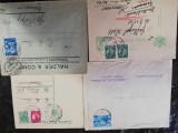 4 plicuri filatelice Romania, circulate perioada interbelica (Mihai si Carol)