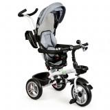 Tricicleta pentru copii, cu maner, scaun rotativ 360°, copertina Ecotoys, gri