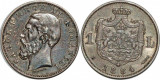 ROMANIA - 1 Leu 1884  Argint . Patina superba . Luciu de batere .  AUNC . Rara !