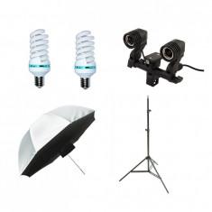 Kit lumina continua cu 2 becuri si umbrela tip softbox difuzie fata 84cm