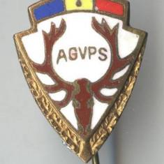 Insigna VANATOARE AGVSP ROMANIA Asociatia Vanatorilor si pescarilor TROFEU CERB
