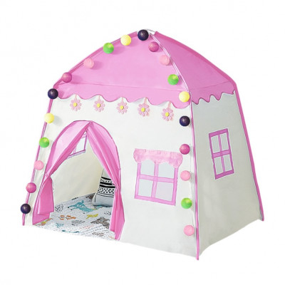 Cort de joaca pentru copii,casuta fetite, cu lumini, roz foto