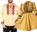 Cumpara ieftin Set Cuplu Traditional 87 Camasa Traditionala si Rochie cu motive traditionale